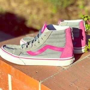 Vans Sk8-Hi Zip Skate gry/Pink w/ flower 🌸 zipper